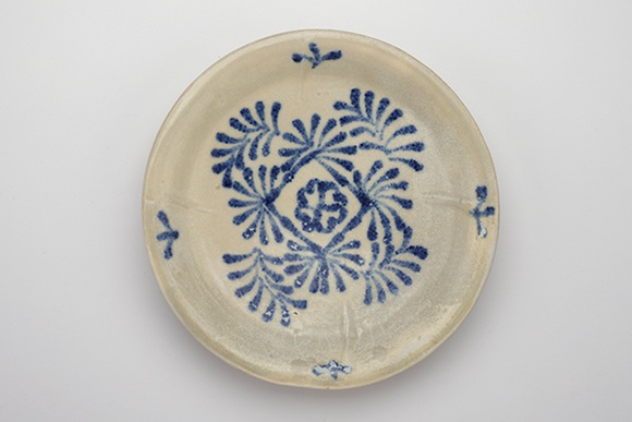 cobalt from Iran gave the blue colour to the ceramic dish -- probably from the Ding kilns , Hebei